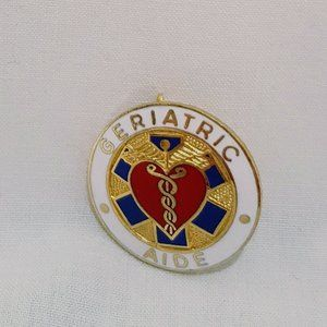 Geriatric Aide Medical Lapel Pin Brooch 1977 Red